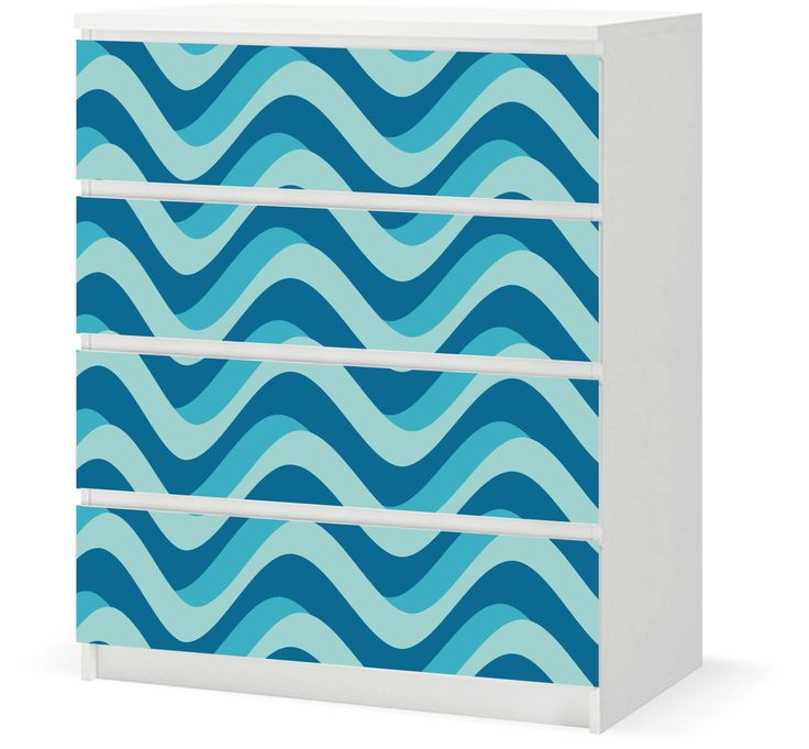 Vinyl Sticker › IKEA MALM 4d - Curvy Blue Waves / F005