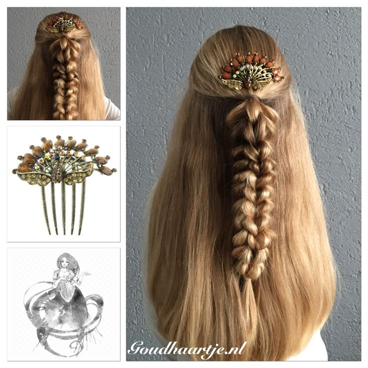 Half up three strand pull through braid with a beautiful comb from Goudhaartje.nl #3strandpullthroughbraid #pullthroughbraid #braid #halfup #halfupdo #hair #hairstyle #longhair #beautifulhair #comb #hairaccessories #vlecht #haar #haarstijl #langhaar #mooihaar #haarkam #haaraccessoires #goudhaartje