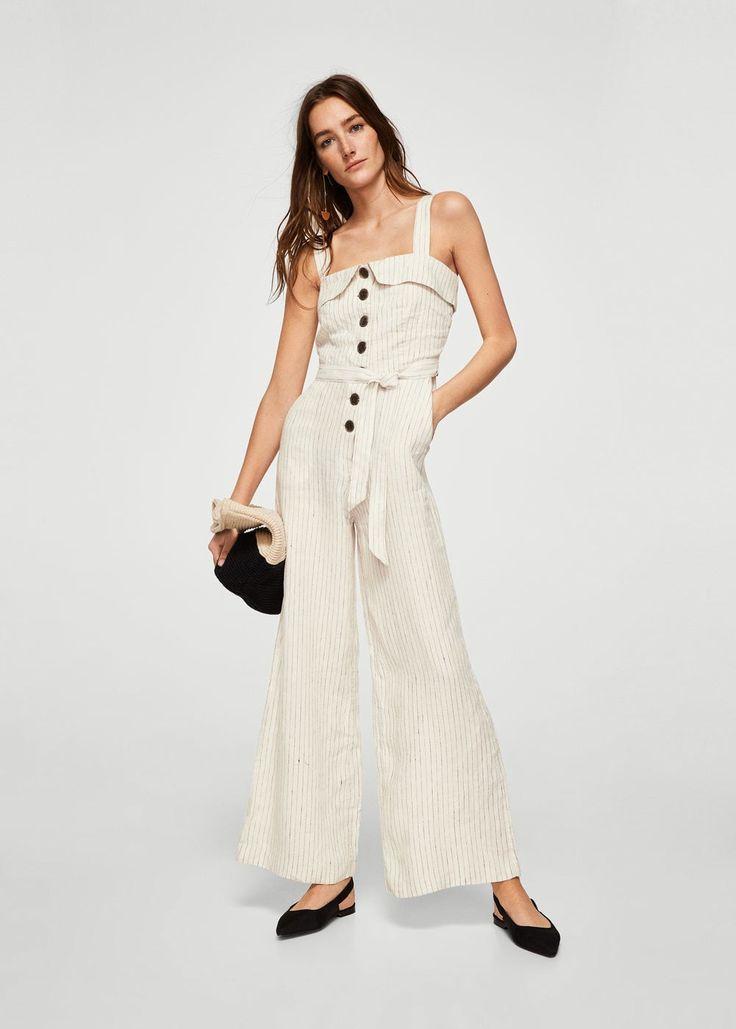 Linen-blend striped jumpsuit | MANGO
