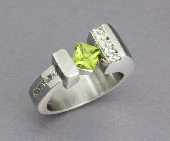 Silver Peridot Ring Silver Gemstone Ring by NellMarieJewelry