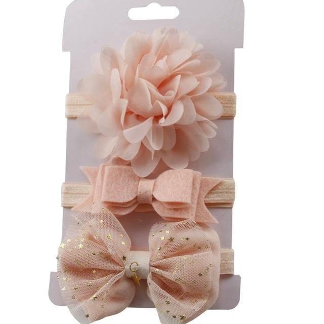 3Pcs Kids Elastic Floral Headband Hair Cute Girls Baby Bowknot Hairband Set