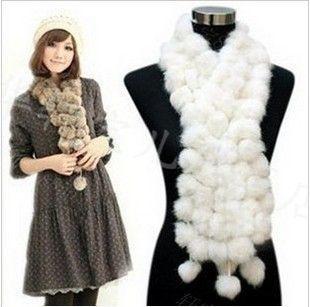 Женская Мех шарфы 100% шарика шерсти бархатной Кролик Длинная модель девушку Зима 2012 белые шарфы бесплатная доставка