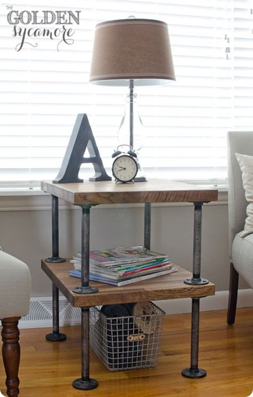 Downstair endtables DIY Industrial Side Table - Golden Sycamore - cool  pipes team with wood to create industrial charm! Featured on Funky Junk  Interiors