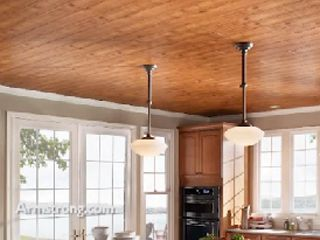 Easy Up Ceiling Kit by Armstrong  |  Using your existing (ugly) suspended ceiling framework, you can upgrade to one of several cool replacement ceilings, such as this plank ceiling!