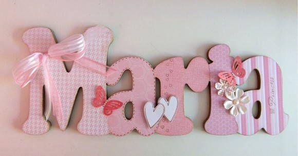Nome em MDF, decorado em papel de scrap.  Pode ser utilizado para decorar quarto, porta de maternidade e festa infantil.  Fazemos nas cores desejadas R$ 56,00