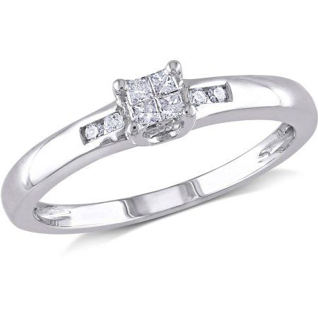 wide Size 7.5 Sterling Silver Diamond Engagement Ring 5//32 in. w// 0.05 Carat Brilliant Cut Diamonds 4mm