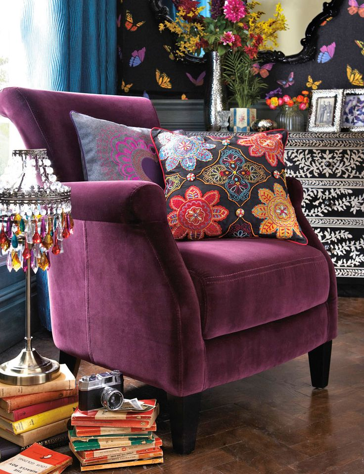 totally in love with the armchair! <3 Boho ~ Beautiful Plum Chair ~ article