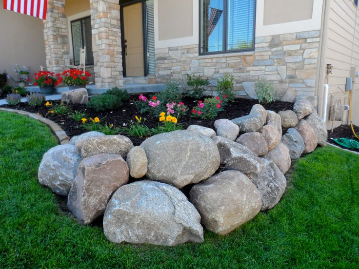 I like the combo rock to edging... would work for side yard into front area by front doors.