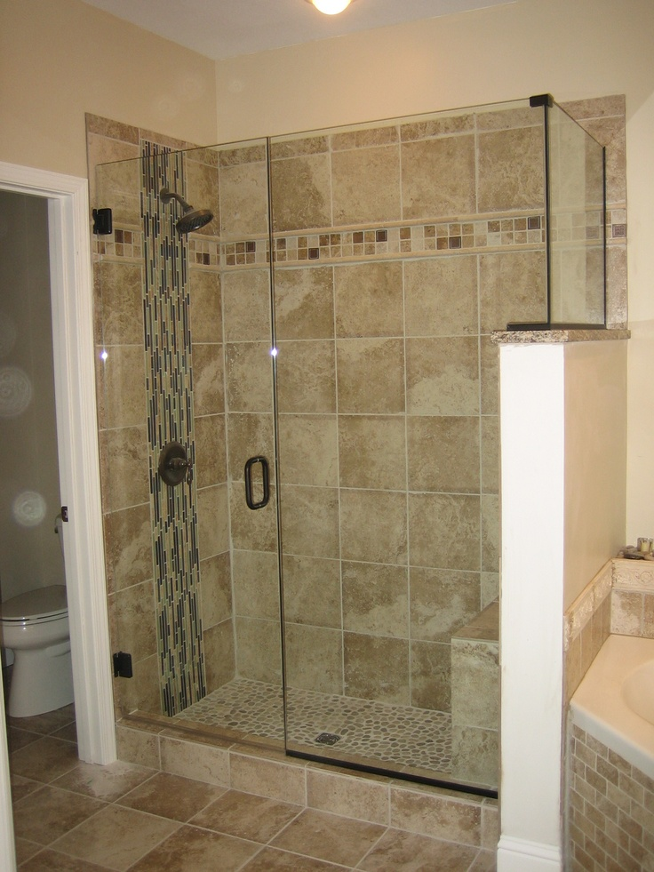 Frameless shower one tile too many for my tastes but i for Bathroom enclosure designs
