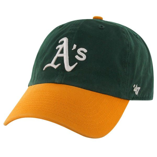 6c5bb582e64 Oakland Athletics Clean Up Dad Hat -  47 Brand Green Gold