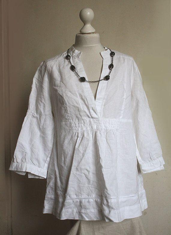 Tunique en lin Vintage, chemise, lin blanc naturel