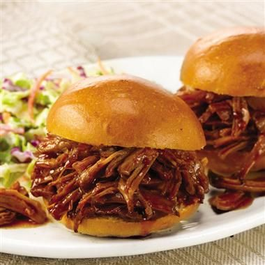 Slow Cooker BBQ Pulled Pork -start with a boneless shoulder roast or substitute a boneless loin roast for lower fat.