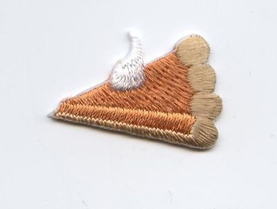 Iron On Embroidered Applique Patch Thanksgiving Pumpkin Pie Slice SET 2 PIECES