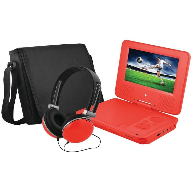 ematic epd707rd 7 portable dvd player bundles red