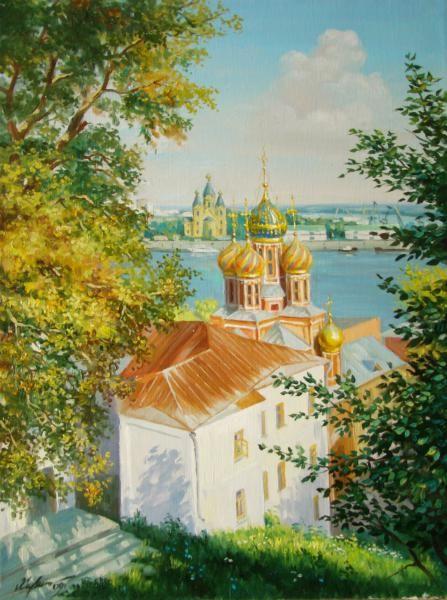 Рождественская церковь находится на набережной Оки в Нижнем Новгороде.