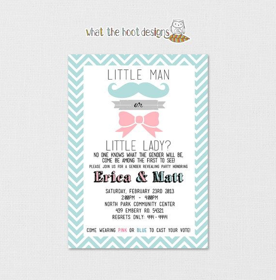 Printable Gender Reveal Party Invitation by whatthehootdesigns
