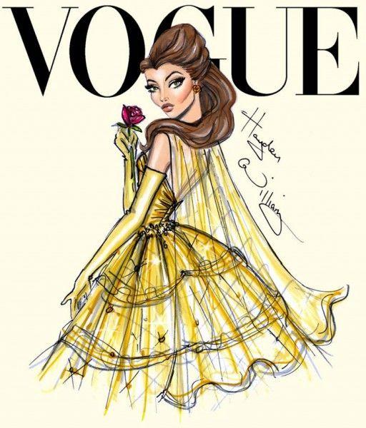 Ilustrações de moda -  Princesas Disney na capa da Vogue - Bela
