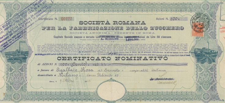 SOC. ROMANA PER LA FABBRICAZIONE DELLO ZUCCHERO - #scripomarket #scriposigns #scripofilia #scripophily #finanza #finance #collezionismo #collectibles #arte #art #scripoart #scripoarte #borsa #stock #azioni #bonds #obbligazioni