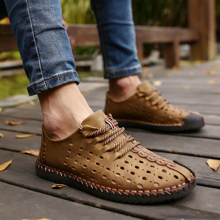 2017 New Arrival Genuine Leather Luxury Brand Summer Men Casual Shoes High Quality Breathable Holes
