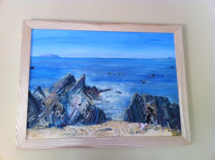 Seascape in collage and acrylic