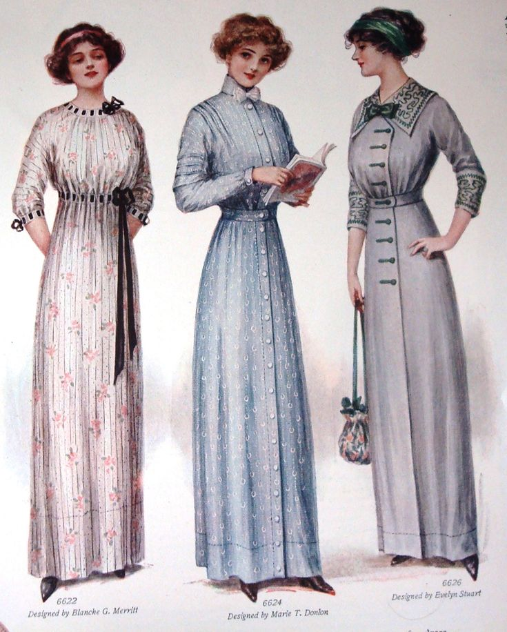 """A 1912 Ladies Home Journal article showed examples of dresses that could be made for one dollar. Well-chosen material, neat sewing, and the careful adjustment of a dress are more to be desired than expensive material badly made up and carelessly adjusted.  This is easily demonstrated in the simple dress of blue dimity above, and you can readily duplicate it for one dollar. Pattern #6624, which is 10¢, requires in size 16, 5 yards of 36"""" material at 15¢ a yard, and buttons at 15¢."""