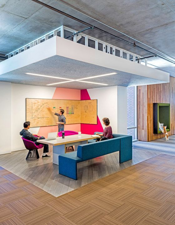 Nice collaborative space | collaborative spaces | | office | #office #design #moderndesign http://www.ironageoffice.com/