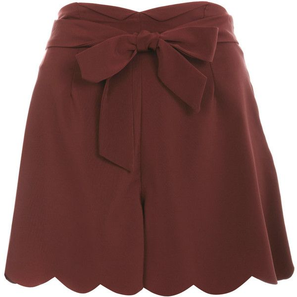 Burgundy Scallop Short (43 CAD) ❤ liked on Polyvore featuring shorts, skirts, bottoms, burgundy shorts, scallop hem shorts, scalloped edge shorts, tie belt and rayon shorts