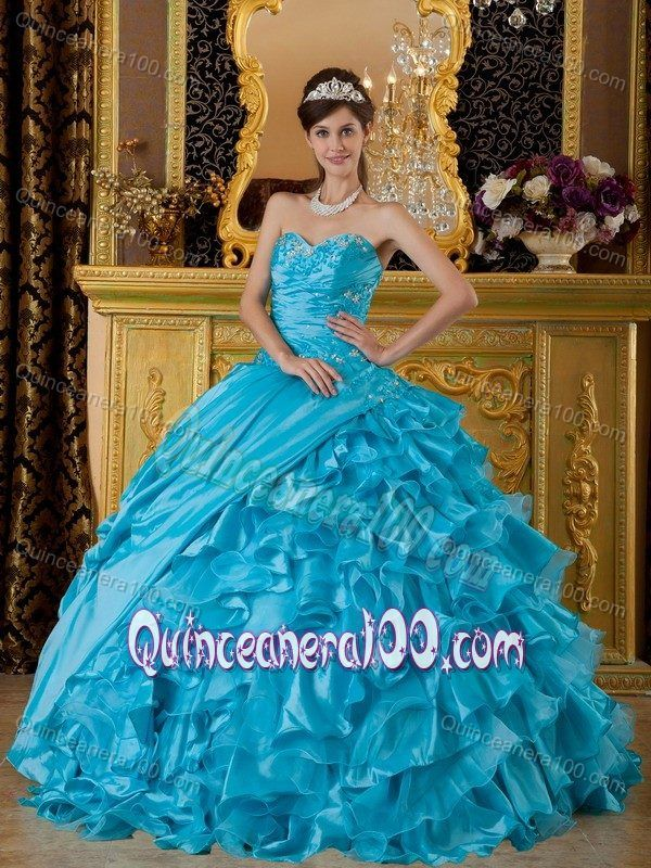 Teal Ruffled for 2013 Sweet 16 Birthday Party Dress Cheap