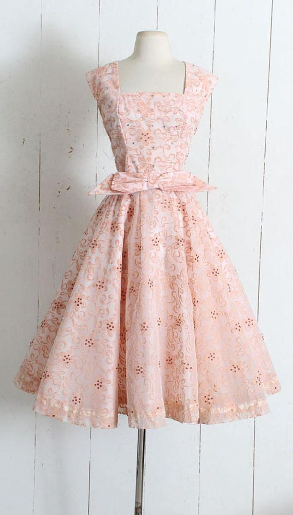 "➳ Vintage 1950s Dress Beautiful 1950s flocked dream of a dress! Raised fuzzy floral print with sequins and rhinestone accents, full skirt, acetate lining, metal back zipper, detachable bow belt. Adorable!! Excellent condition - no flaws. Fits like L. Length 45"" Bodice 17"" Bust 40"" #vintageclothing"