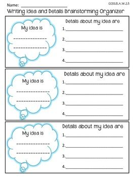 FREEBIE! 6 +1 Writing Traits: Ideas and Details Brainstorming graphic organizer