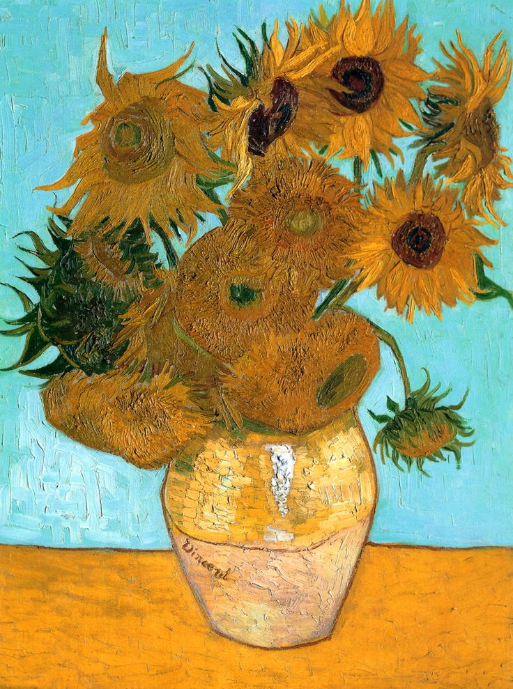 12 Sunflowers by Vicent Van Gogh, one of his most famous pieces in his short life and career