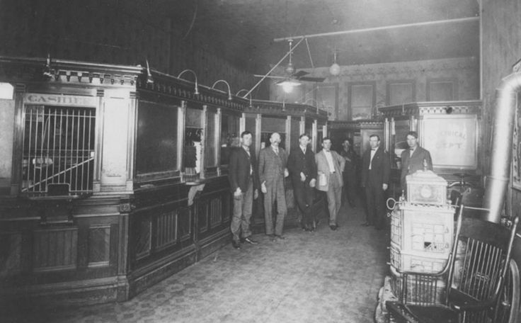 Office staff at the Ogden Utah Ligh and Railway Company. Left to right: Joseph B. White, Edward W. Wade (Division Manager), Nephi J. Brown, Stringham A. Stevens, P. M. Parry, George Latham 1905