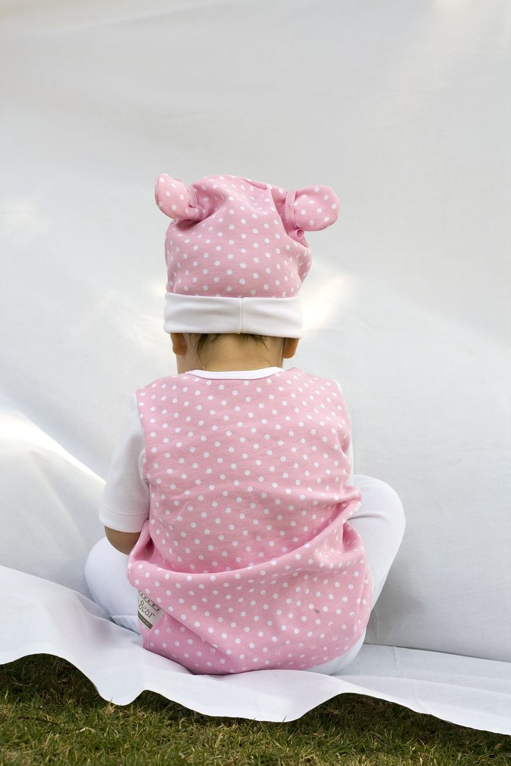 A little Poogy Bear wearing our Pink Polka Dot range!