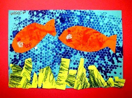 bubble wrap on blue paper...orange splatters on orange paper...green pastels on green paper and then cut.