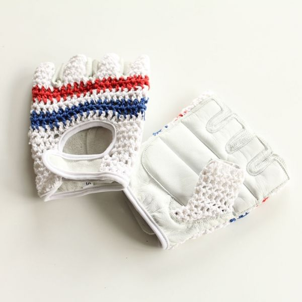 Crochet Cycling Gloves - Classic Blue & Red | Cyclechic