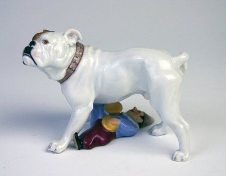 Meissen model of a bulldog standing guard over a toy