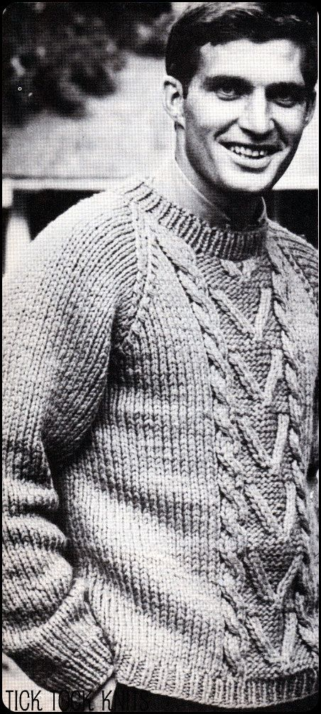No.143 Knitting Pattern PDF Vintage Men's Bulky Cabled ...