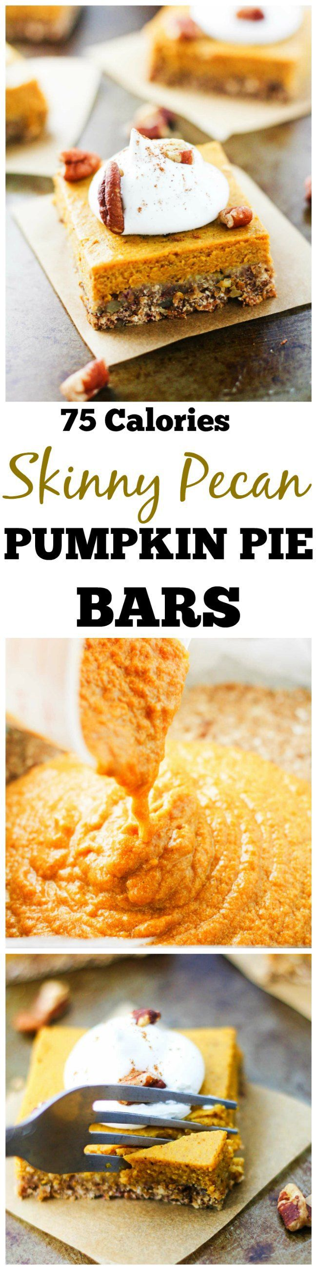 Skinny Pecan Pumpkin Pie Bars - delicious pumpkin bars made with a refined sugar-free pecan crust. Why decide between pumpkin pie and pecan pie when you can have both! www.itscheatdayeveryday.com