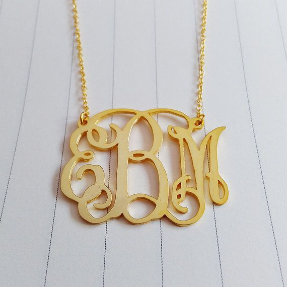 """Small Monogram Necklace,1"""" inch Personalized Monogram Necklace,3 Initial Monogram Necklace,Gold Monogram Necklace,Monogrammed Gifts"""