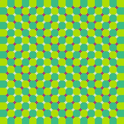 Le fond est composé de ronds mais semble onduler.  En outre, cette figure montre une grande quantité d'illusions de mouvement.  Cette illusion a été créée par Akiyoshi Kitaoka,