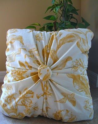 """Gathered pillow tutorial. Would use upholstery button in center instead of the """"poof""""."""
