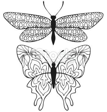 Tatouage au henné, Motif, Design, Papillon, Tradition hindi Illustration vectorielle libre de droits