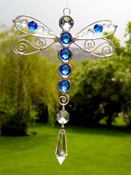 Sapphire Stained Glass Dragonfly Suncatcher Similar found at…