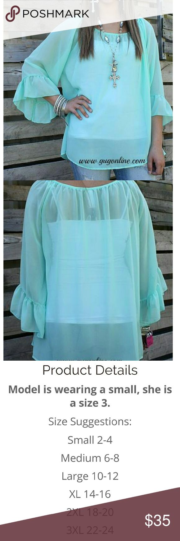 Giddy up glamour feeling the breeze top Mint Feeling the breeze giddy up glamour sheer top brand new with tags size 3x (22/24) giddy up glamour Tops Blouses