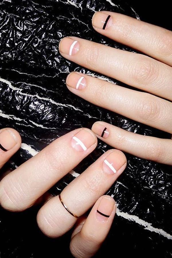 MINIMALIST LINES  One of the simplest (and easiest to maintain) trends involves just a thin horizontal line across each nail. (Option to get a little crazy with it by alternating between two colors as seen above.)