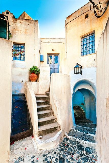 Pyrgos Village on Santorini Island in Greece