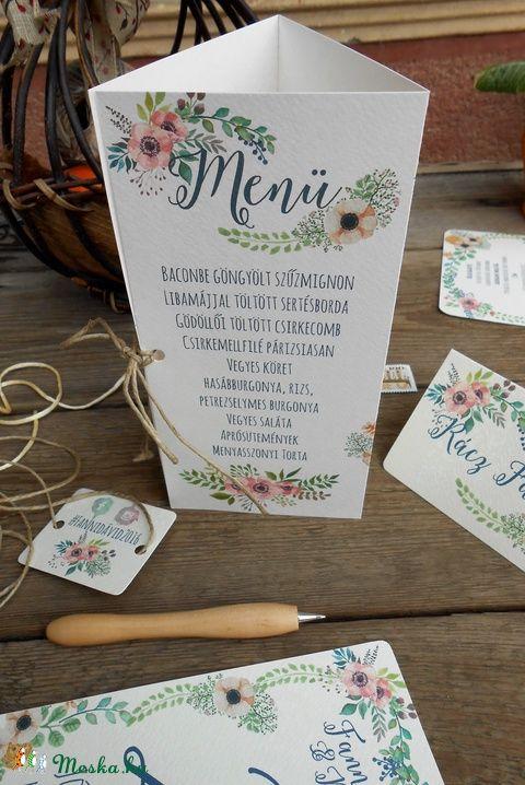 Esküvői Menü, Rusztikus Esküvő, Virágos Esküvői lap, Rusztikus, Vintage Esküvő, Virágos, Party menü, Esküvő, Naptár, képeslap, album, Meghívó, ültetőkártya, köszönőajándék, Esküvői dekoráció, Meska