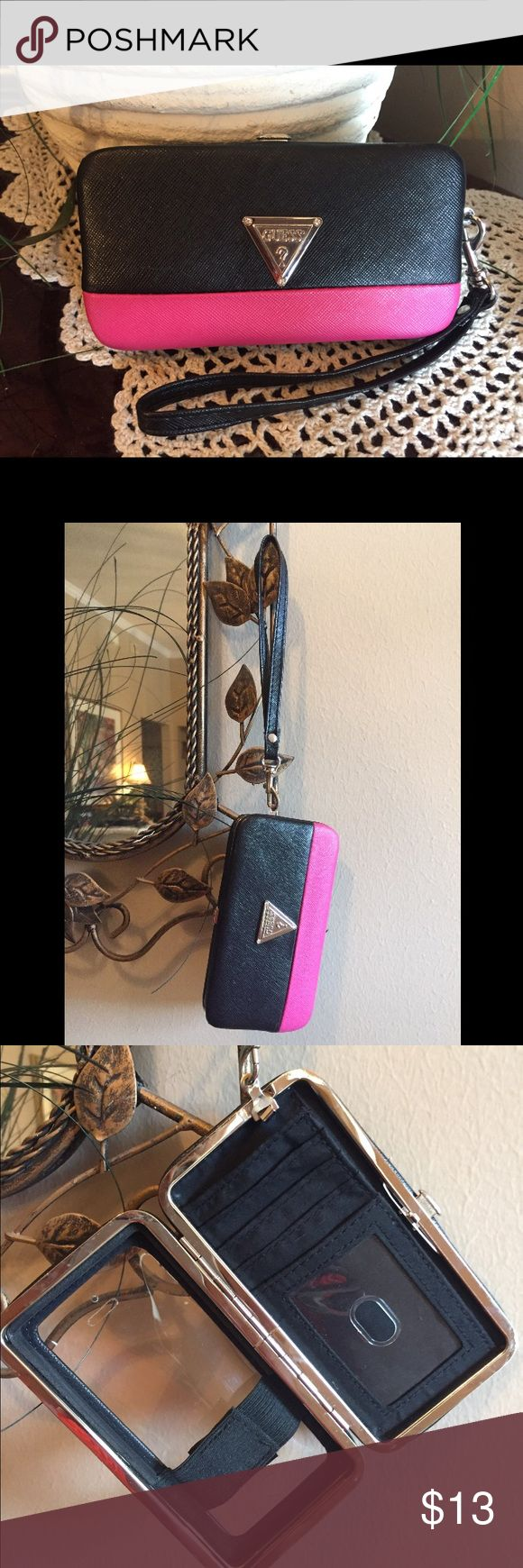 GUESS 5/5s iPhone Holder/Case📱 Beautiful Guess iPhone 5/5s Holder/Wallet. Black/pink with silver Guess logo, new condition . Guess Accessories Phone Cases