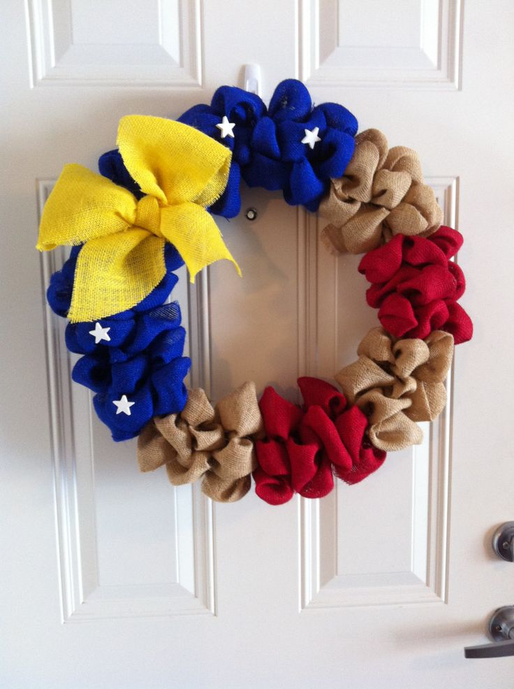 Large Burlap wreath Red White & Blue Military Support Military Decor  20 inches. $33.00, via Etsy.