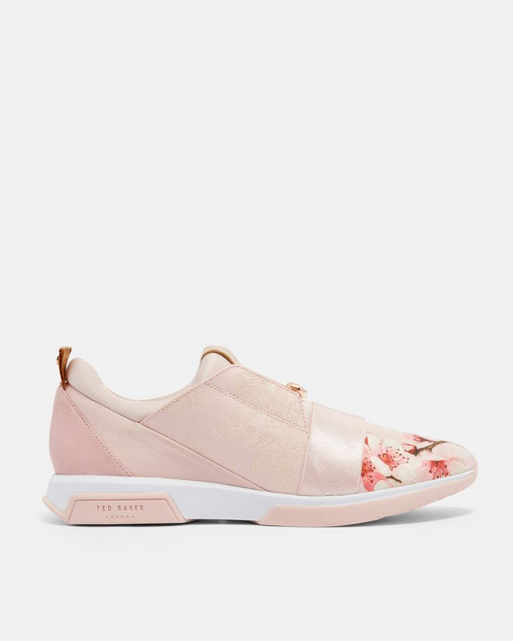 Blossom Jacquard suede trim trainers - Light Pink | Shoes | Ted Baker ROW
